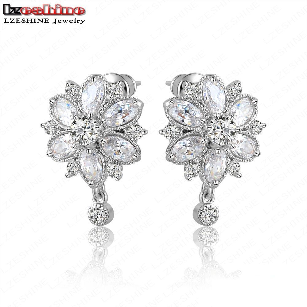 LZESHINE Hot Sale Flower Earrings Studs Top Quality Marquise Cut Clear Color Cubic Zirconia 2016 Stud Earrings CER0011-B