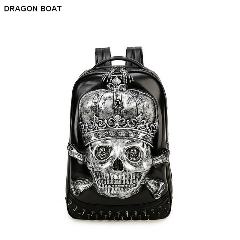 ФОТО 3D Skull Laptop Notebook Backpacks for teenagers Cool Men's Backpack Large PU Leather Backpack With Rivet Special mochila