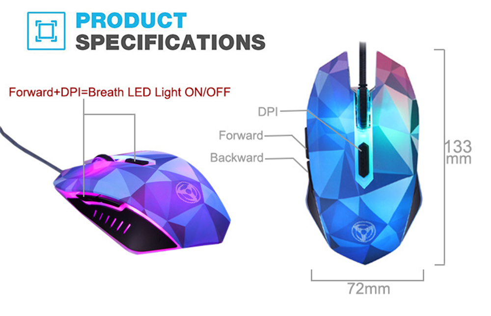 Original Hongsund Dazzle Colour Diamond Edition Gaming Mouse Wired Mouse Gamer Optical Computer Mouse For Pro Gamer 3