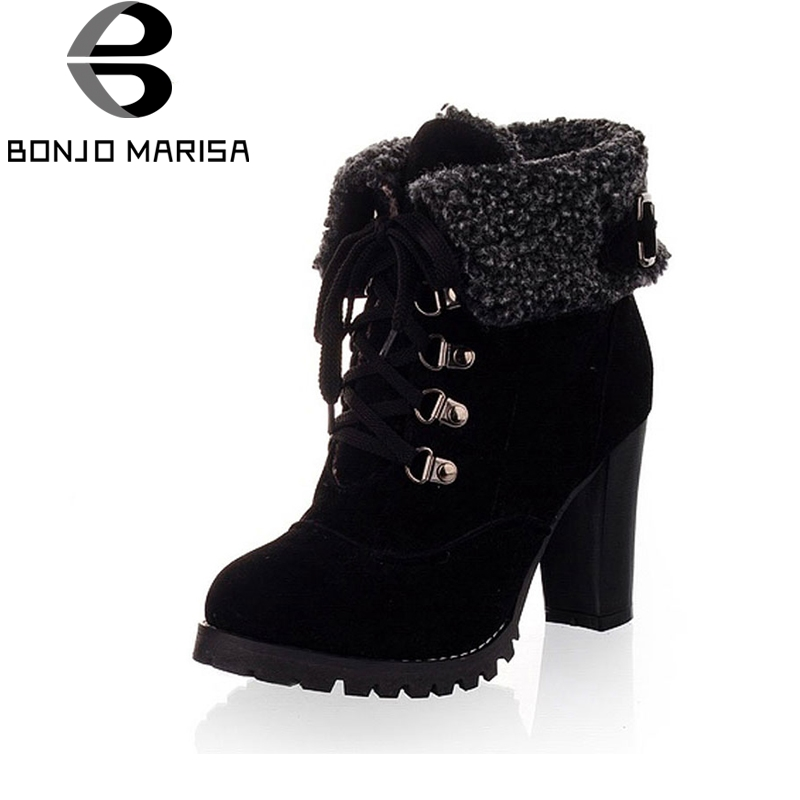 BONJOMARISA Women Winter Snow Ankle Boots Lace Up High Heels Platform Warm Fur Shoes Woman Botas Mujer Big Size 34-43 цены онлайн