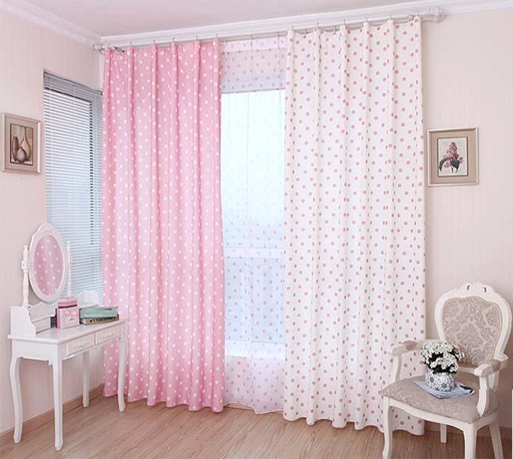 White Pink Princess Korean Style Modern Blackout Window Curtain Set ...