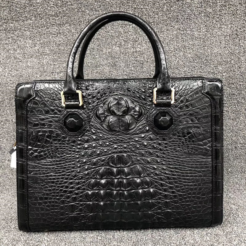Genuine Crocodile Skin Zipper Closure Businessmen Laptop Briefcase Alligator Leather Male Working Handbag Long Belt Shoulder Bag