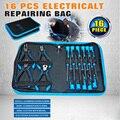 16pcs Combination Auto tools Kits Multitul Repair Bag Hand Tool Waist Bag Electrician Screwdriver  PliersSet AD1026