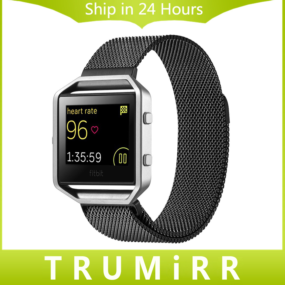 23mm Milanese Loop Watch Band Stainless Steel Magnetic Closure Bracelet Strap for Fitbit Blaze Smart Fitness Watch Black Silver джемпер brave soul brave soul br019ewulg51