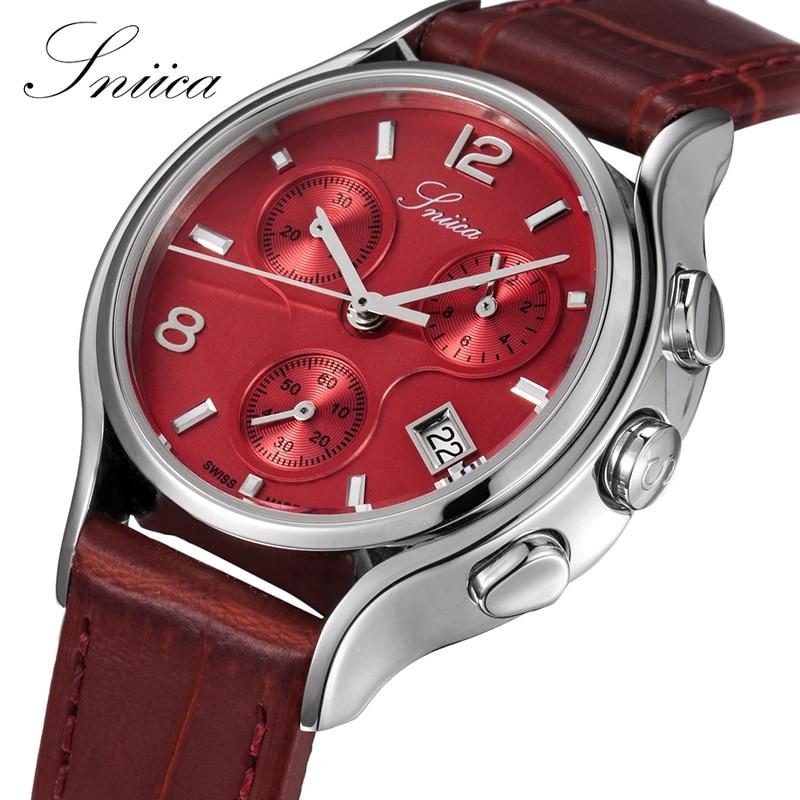 SNIICA Fashion Quartz women watches Round Red Dial Wristwatch Leather Watchband Ladies Watch Women Montre Femme Giftbox SN3408