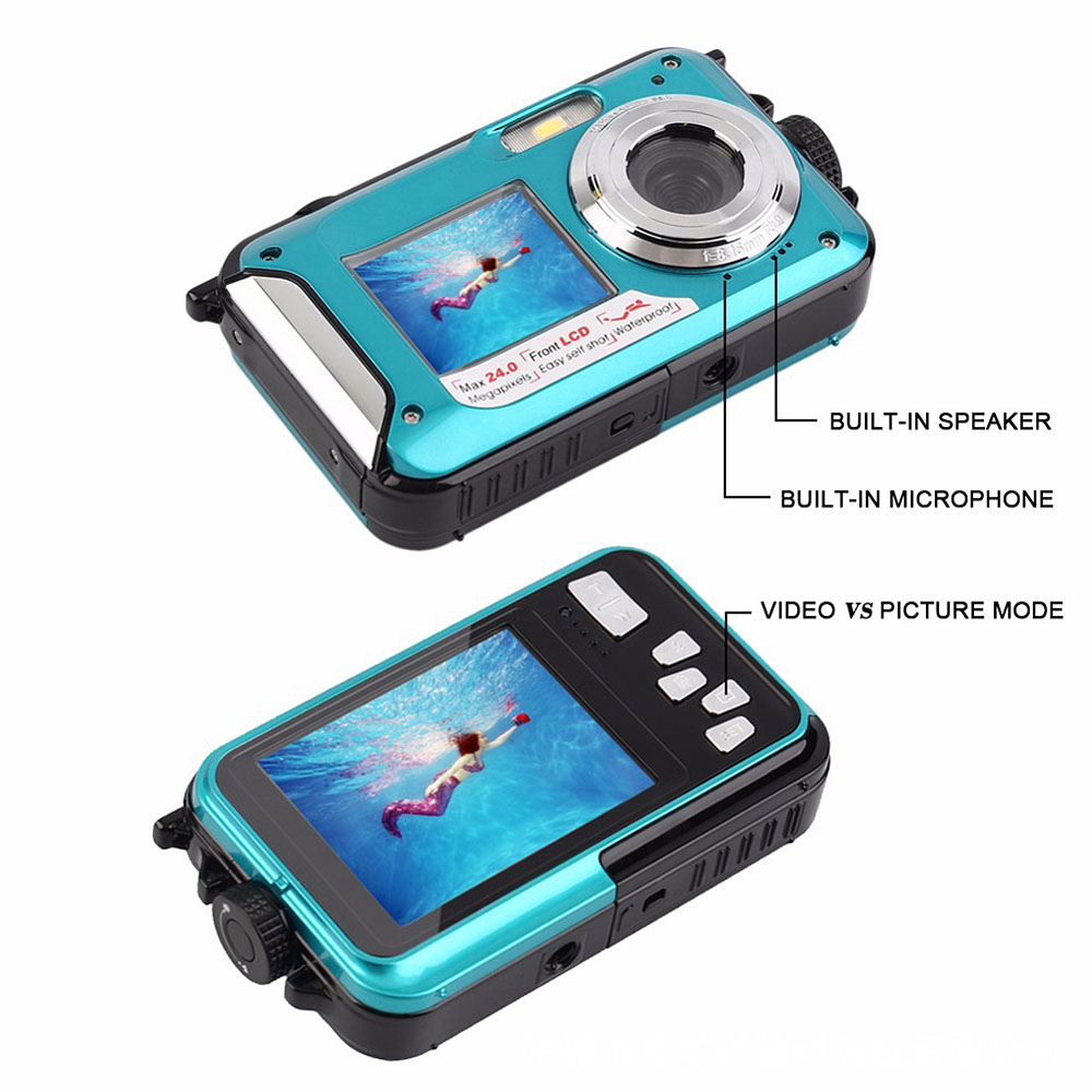 Digital Camera Waterproof 24MP MAX 1080P Double Screen 16X Digital Zoom Camcorder HD Underwater Camera 4