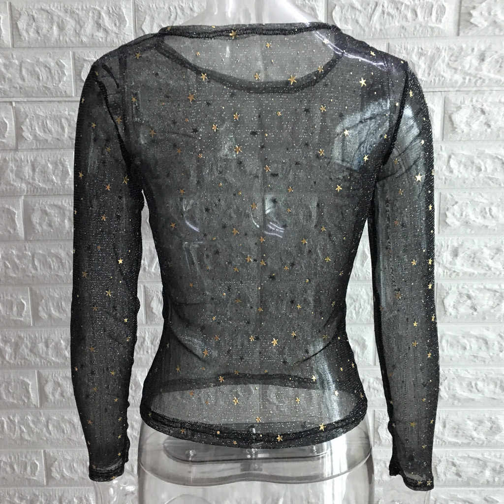 Sequin Top Vrouwen 2018 Herfst Nieuwkomers Fashion Lange Mouwen Mesh Patchwork Blouses Dames Hollow Out Crop Tops Streetwear