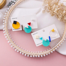 Brincos Para As Mulheres New Fashion Women Japan Korean Candy Color Geometric 5pcs/set Stud Earrings Sweety Pendientes Jewelry