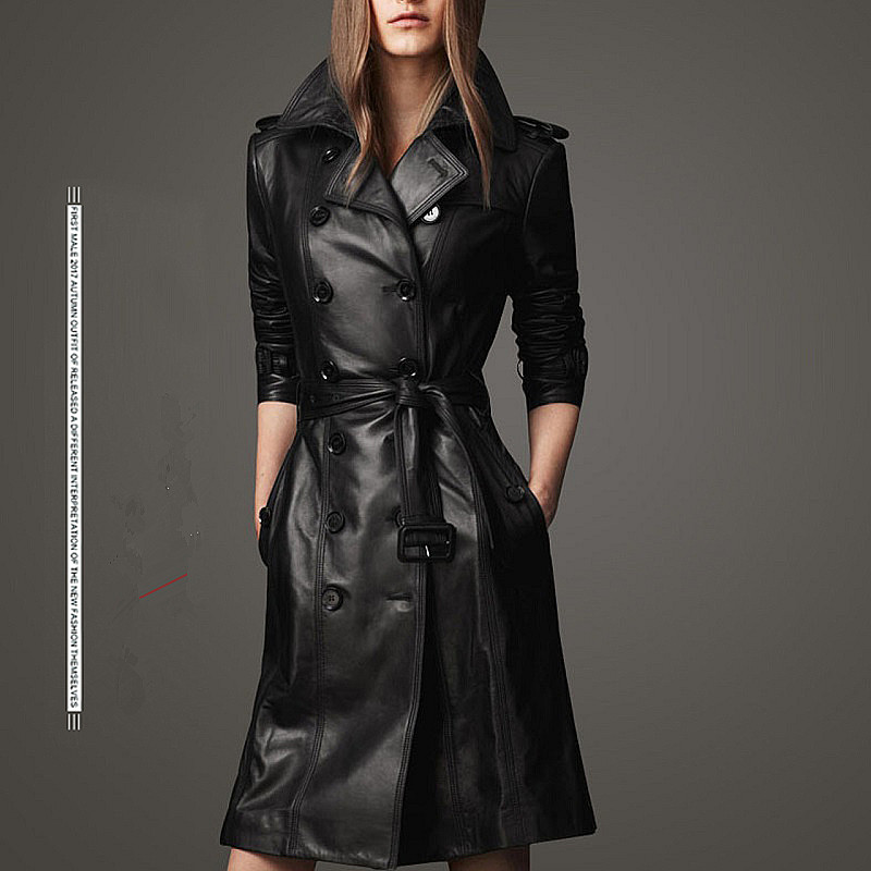 2017 top Compound sheepskin coat lady Free wash PU leather jacket lace-up plus size trench coat Long with cotton overcoat