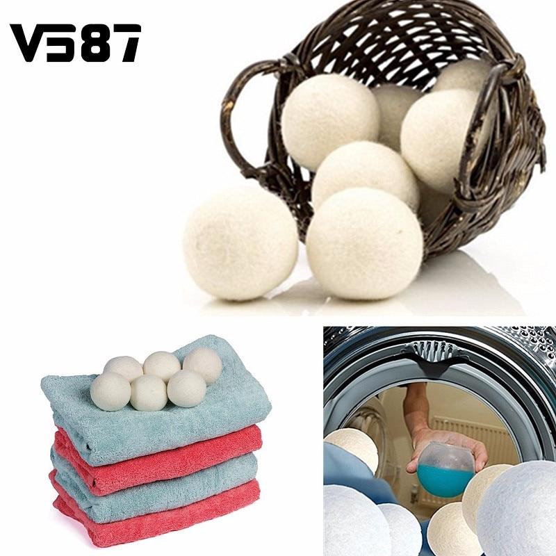 Laundry Clean Ball 6pcs/pack Reusable Natural Organic Laundry Fabric Softener Ball Premium Organic Wool Dryer Balls стоимость
