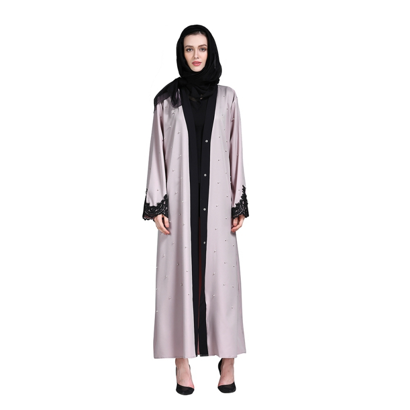 c7933e5adca64 Muslim Arab Beading Lace Patchwork Cardigan Abaya 2019 New Fashion Dubai  Abaya Islamic Large Size Dress Prayer Service Clothing