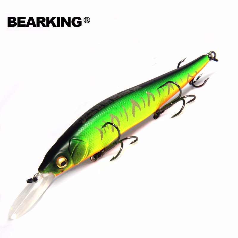 Bearking Bk17-M110 Wobbler Minnow 11 cm 14g 1 stück Angeln Locken 1,8 mt Tiefe Tauchen Tiefe Harten Köder Lange zunge Minnow aussetzung Locken