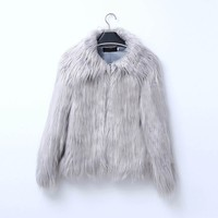 Winter Women Faux Fur Coats Jackets Pink Black Fur Noble Coat Jackets Thicken Warm Fake Fur