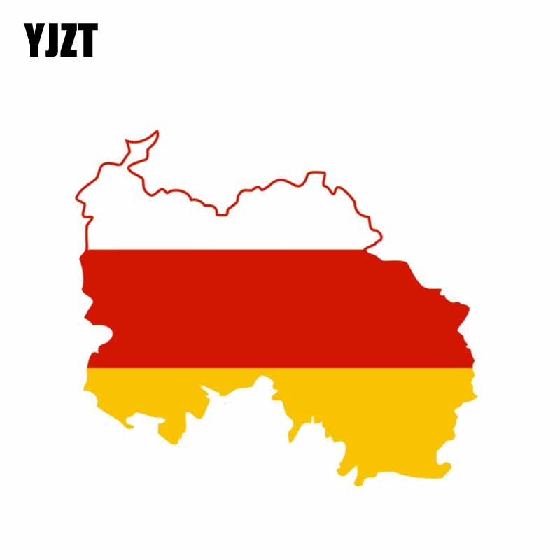 YJZT 11.9CM*10.5CM Creative South Ossetia Reflective Car Sticker Flag Map Decal 6-0895