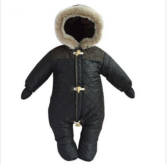 Moda Inverno Romper Do Bebê Do Algodão-acolchoado Com Capuz Macacão à prova de Vento-Quente Snowsuit Roupas de Recém-nascidos