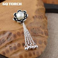 GQTORCH 990 Sterling Silver Flower Gemstone Pendant With Natural Freshwater Pearl Vintage Tassel Accessories Women Jewelry