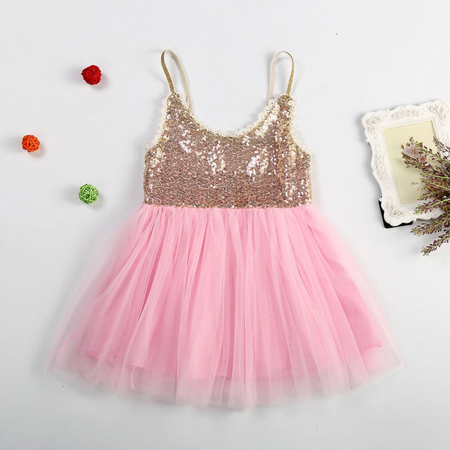 9348e1e653d6 Cute Girls Gold Sequin Lace Chiffon Tutu Dress Kids Glitter Bling ...
