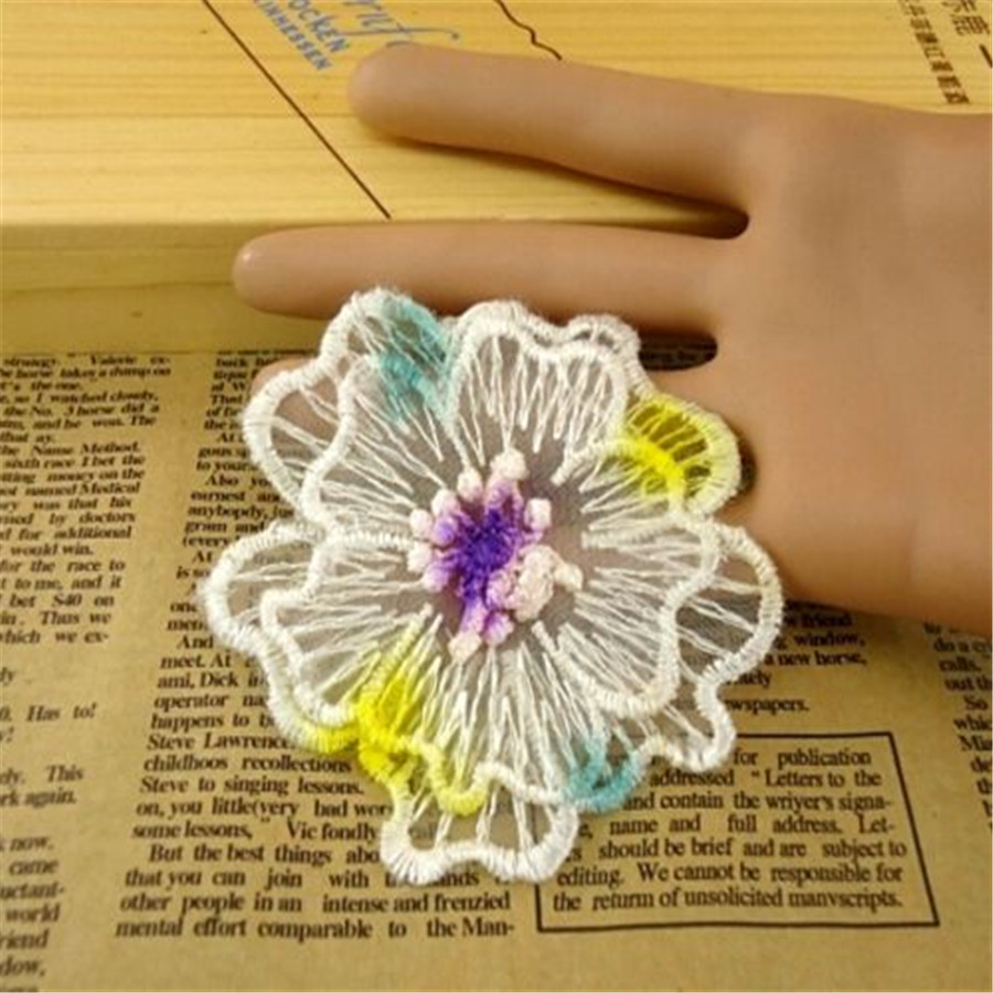 Fd3615 New Double Layer 3d Flower Lace Patch Embroidery Cloth