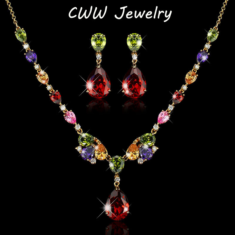 лучшая цена CWWZircons Classic My Mona Lisa Design Gold Color MultiColor Cubic Zirconia Necklace Earrings Jewelry Set For Women T067