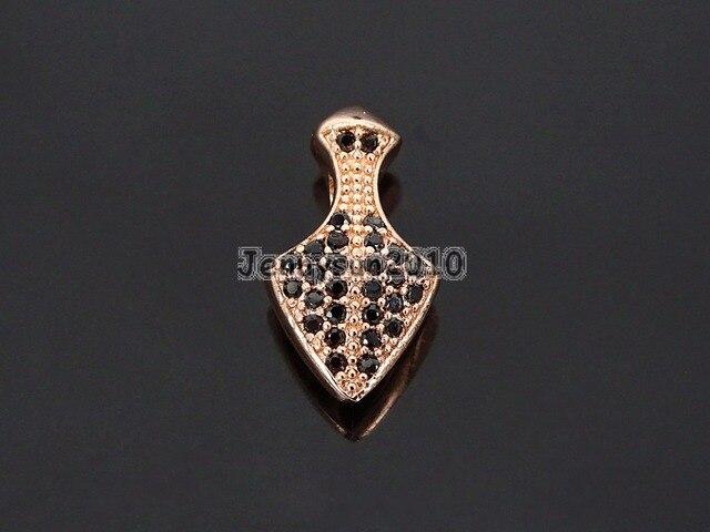 Zircon noir pierres précieuses pavé pointu fer de lance pendentif charme entretoise perles argent or Rose or Gunmetal 10 pcs/paquet