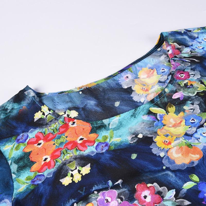 L3ST279 New Fashion Women spring and summer Clothes 2018 Elegant Silk printing Dress 100% Silk light ripe Female Dress