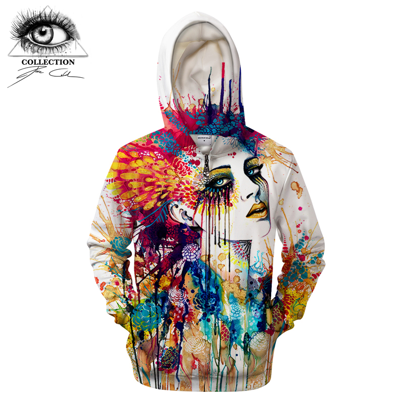 Flora by Pixie cold Art Printed 3D Zipper Hoodies Men Women Zipper Hooded Sweatshirts Tracksuits Brand Pullover Jacket Streetwea