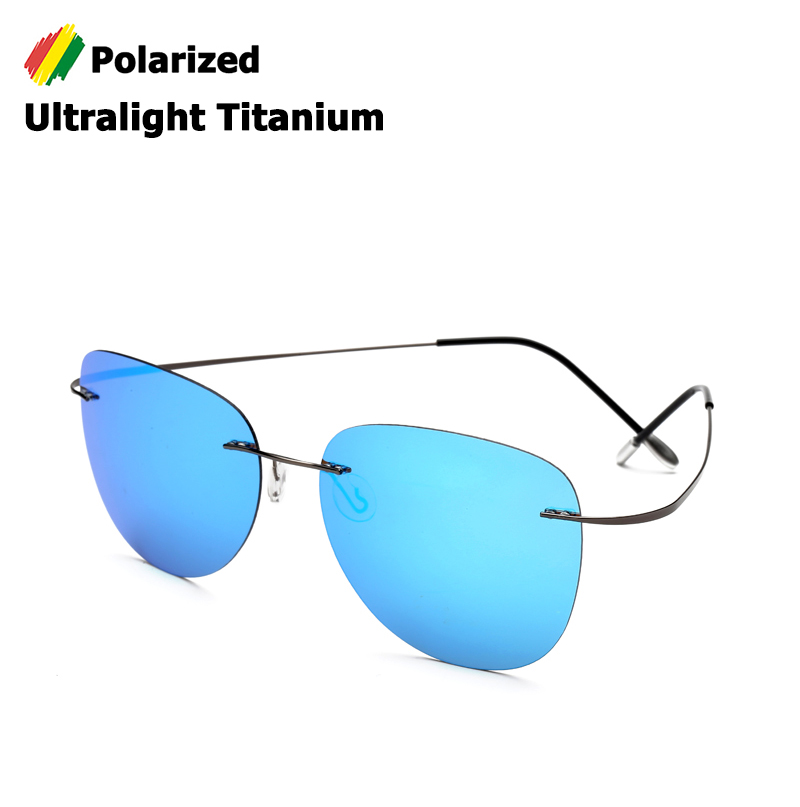 JackJad New Fashion Men Driving Ultralight Titanium Polarized Sunglasses Brand Design Rimless Aviation Sun Glasses Oculos De Sol