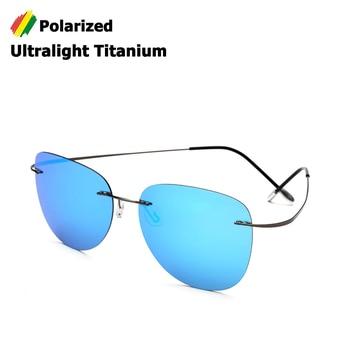 5c8b05c980 JackJad nueva moda hombres conducción ultraligero titanio polarizado gafas  De Sol diseño De marca sin montura aviación gafas De Sol
