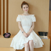 2017 Elegant Women Shrink Waist Princess Vingtage Ball Gowns Dress Lady White Cotton Dresses