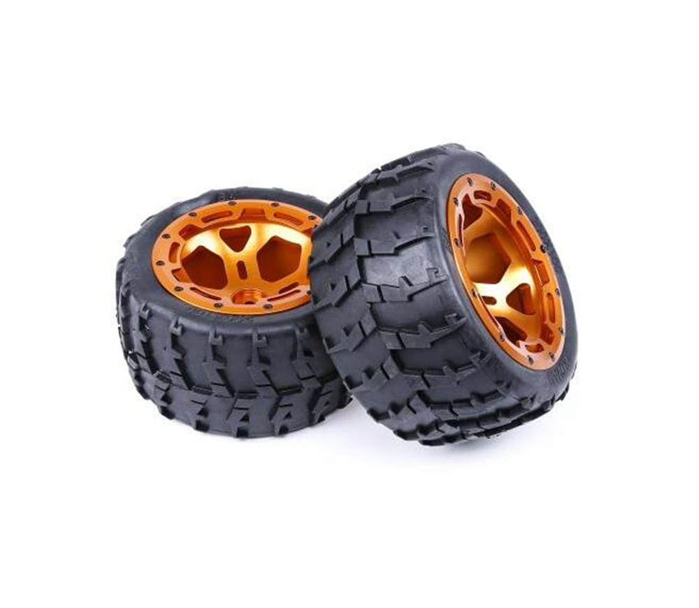 2 шт. алюминиевый сплав cnc обработка ступицы колеса с шинами в сборе для 1/5 весы FG BM запасные части игрушки грузовик