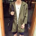 Новый 2016 осень япония стиль случайный тонкий пиджак мужчины свободный тип длинные траншеи пальто мужчины с капюшоном мужская одежда размер м-5xl/FY4-1