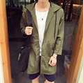 New 2016 autumn japan style casual thin jacket men loose type long trench coat men with hooded men's clothing size m-5xl /FY4-1