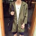 Novo 2016 outono estilo de japão dos homens casuais jaqueta fina tipo solto homens longo casaco com capuz roupas masculinas tamanho m-5xl/FY4-1