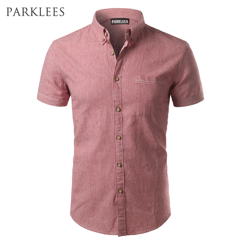 Striped Shirt Men 2017 Brand New Design Short Sleeve Mens Dress Shits 100% Cotton Casual Button Down Mens Shirts Plus Size 4XL
