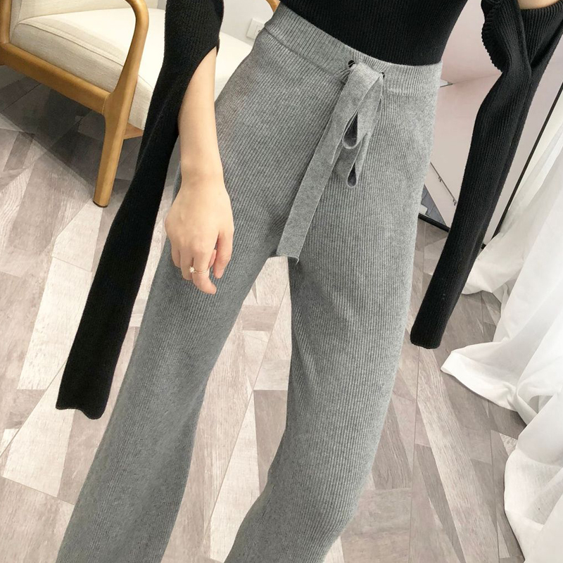 2018 women's trousers sweater pants high waist casual solid color belt decorative knit wide leg pants
