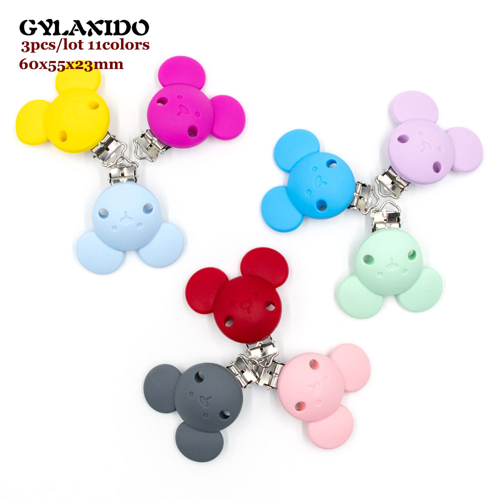 3Pcs Mouse Shape Baby Pacifer Clips Perle Silicone Teether Clip DIY Baby Dummy Chain Nipple Holder Soother Nursing Teething Toys