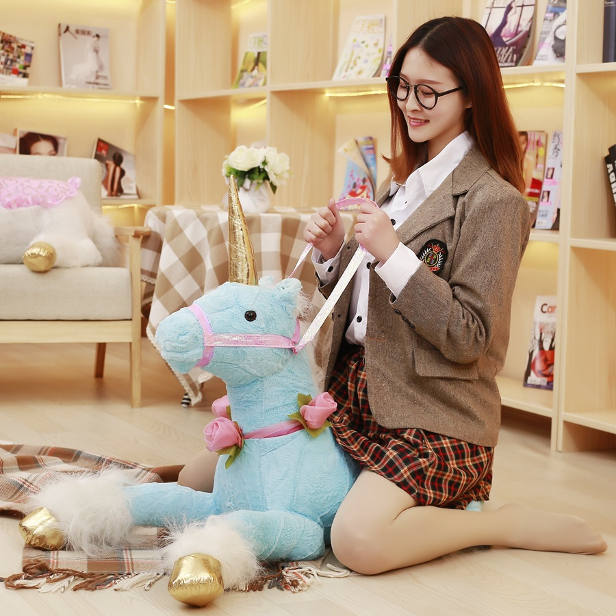 Drop Shipping Large Stock 85 cm Lovely Unicorn Plush Toy Stuffed Unicorn Horse Pillow Big Toy Gift For Children & Home Deco