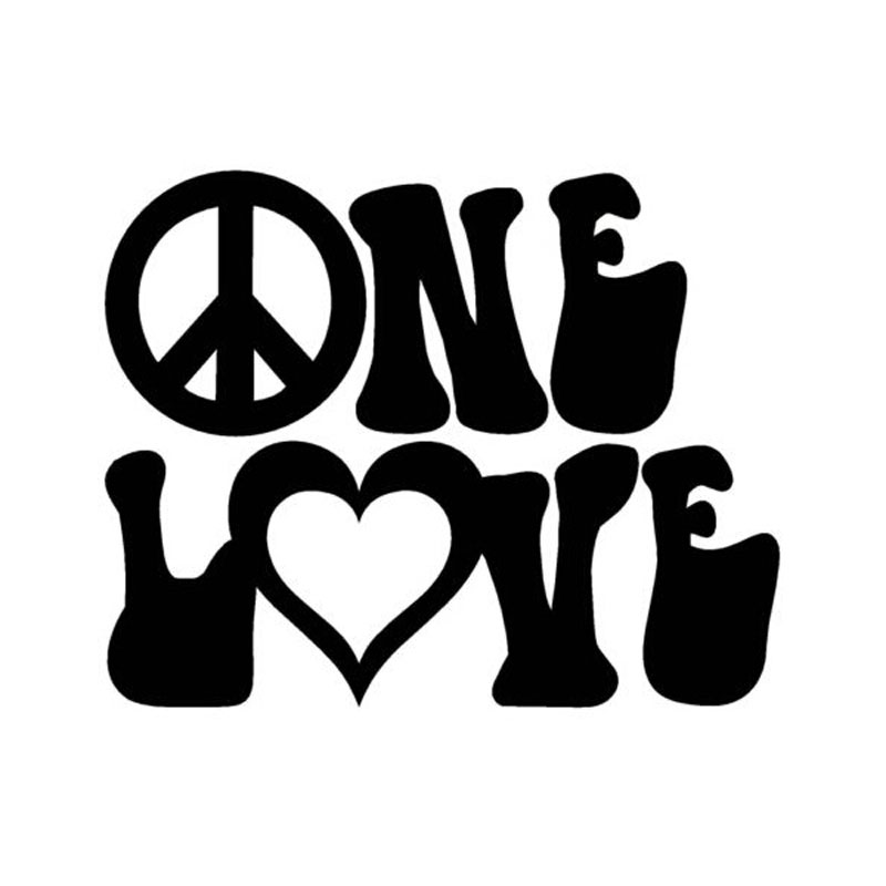 HotMeiNi 13.5cm*11cm Character Letter Peace Loving LOV Vinyl ONE Window Cartoon Not Packaged Car Stickers