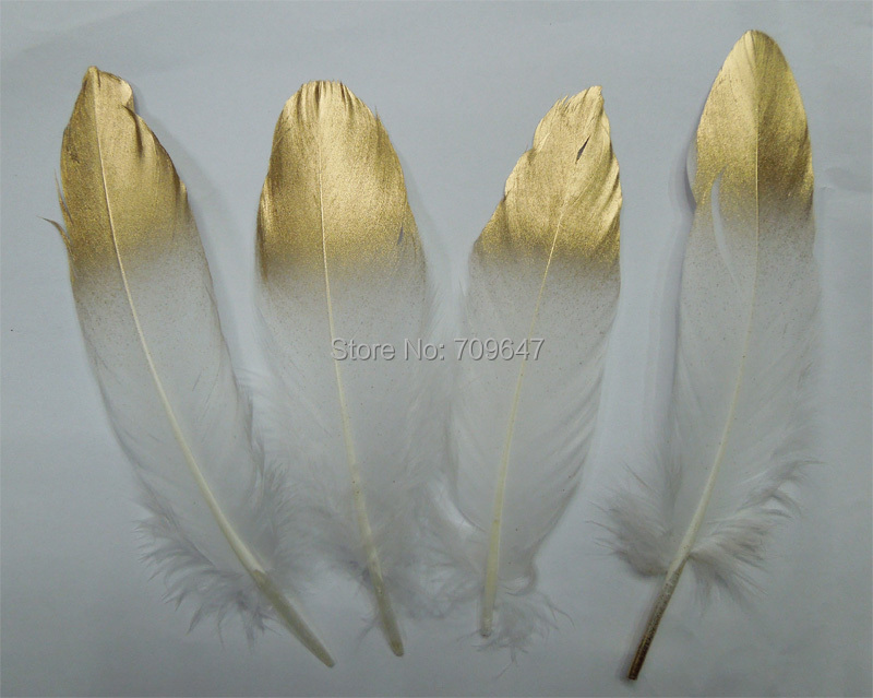 Gold Dipped White feathers, GOOSE feathers with Gold Tips loose painted for millinery, crafts, wedding/13-20cm long,50pcs