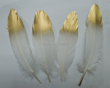 GOLD tipped natural White Satinettes  Feathers - gold hand painted GOOSE feathers, loose gold+white feathers/13-20cm long,50pcs