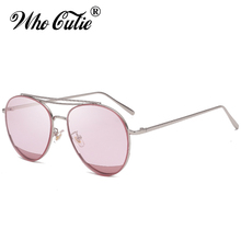 WHO CUTIE 2018 Cool Pink Aviator Sunglasses Men Women Brand Designer Clear Lens Lady TINT Sun Glasses Green Shades Oculos OM338