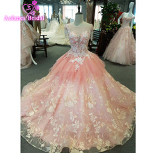 Custom made Pink Flowers Wedding dresses Lace Bridal Gown 2018 New Design Ball Puffy Summer Crystals Dresses