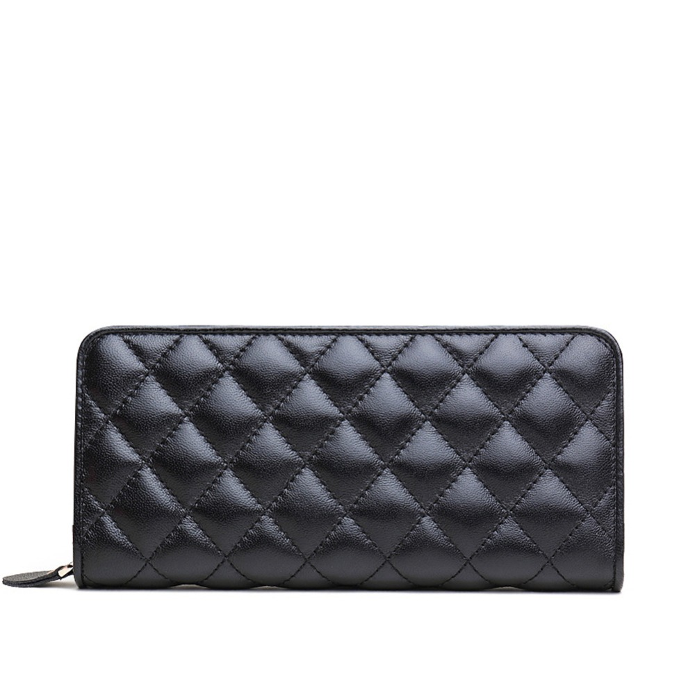 ZENTEII Women Genuine Leather Quilted Pattern Long Wallet