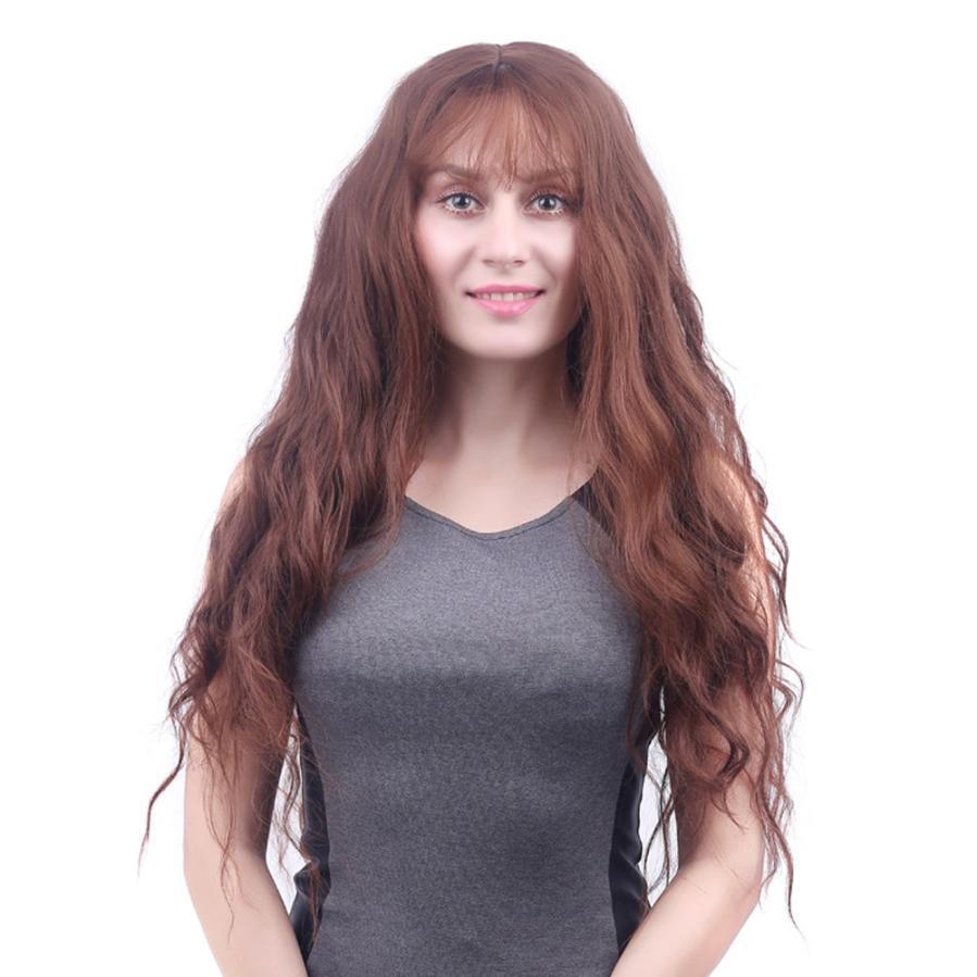 Womens Fashion Lady Long Wavy Curly Full Wig Air Bang Water Wave Hair 0704