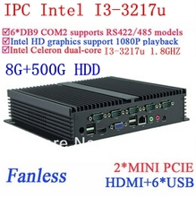 8G RAM 500G HDD INtel i3 Fanless industrial computers Gigabit Ethernet 6*USB 6*COM WIN7 WIN8 LINUX NAS free drive 7 24 hours