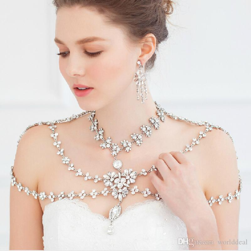 цена 6pcs/lot Ladies Rhinestone Crystal Shoulder Chains Necklet Layered Leaf Design Necklace Banquet Bride Dress Decoration jj017 в интернет-магазинах
