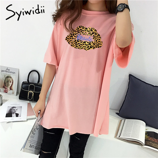 100% cotton Harajuku oversized t shirt  Womens Tshirt batwing Sleeve Loose long vintage womens clothing pink tops plus size 2019