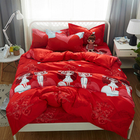 Wedding Bedding set Traditional Chinese style Duvet cover Red festive lucky bed sheet set full twin queen king Size 4/3pcs