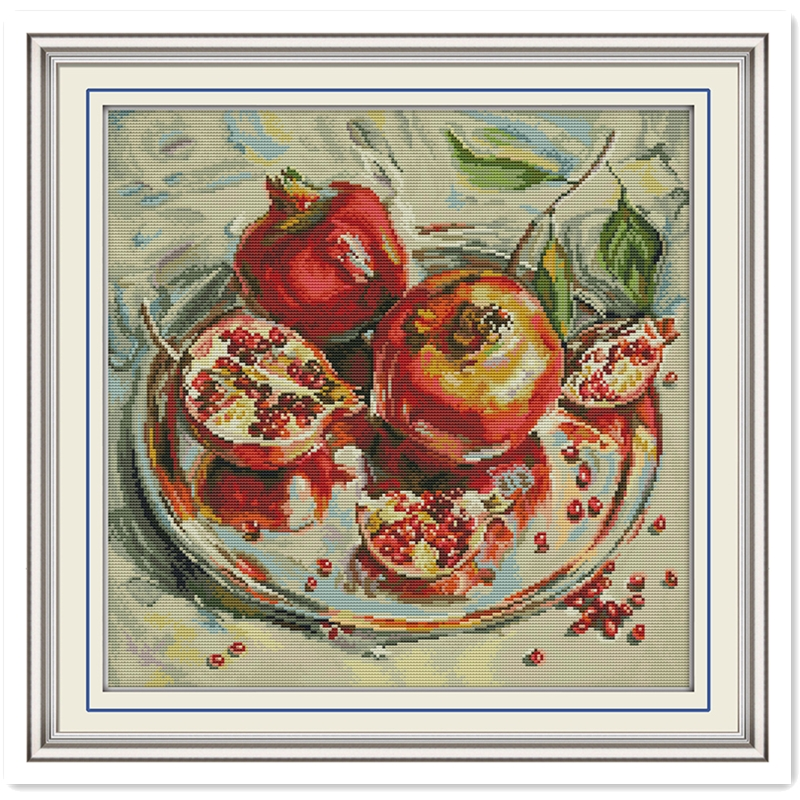 Pomegranate Chinese Counted Cross Stitch Pattern Embroidery Cross Set 11CT 14CT Printed On Canvas Cross Stitch Kit Needlework