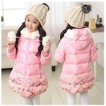 Бесплатная Доставка новые зимние девушки толстые цветочные пальто Повседневная сладкий с капюшоном длинное пальто Розовый ватнике размер 120-160